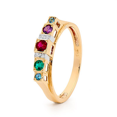 Multi Colour Gem Set Ring