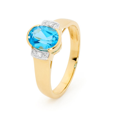 Blue Topaz Dress Ring with Diamonds