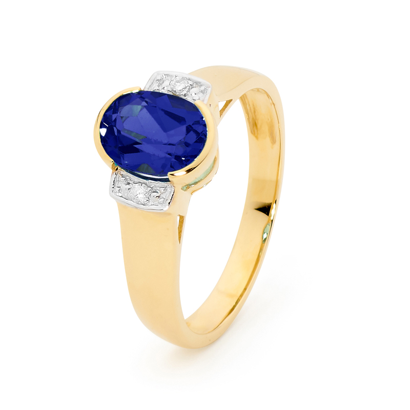 Oval Sapphire Dress Ring with Diamonds