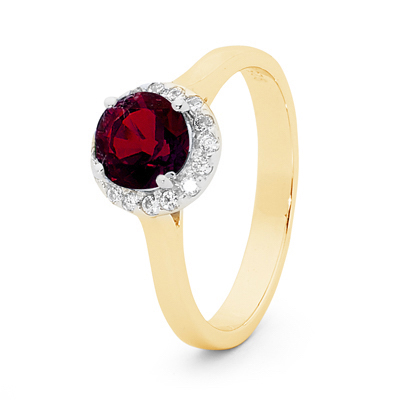 Ruby Bridal Ring with Diamonds