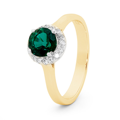 Created Emerald Bridal Ring with Diamonds