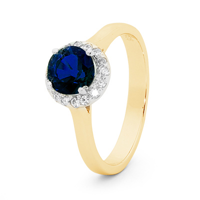 Sapphire Bridal Ring with Diamond Halo