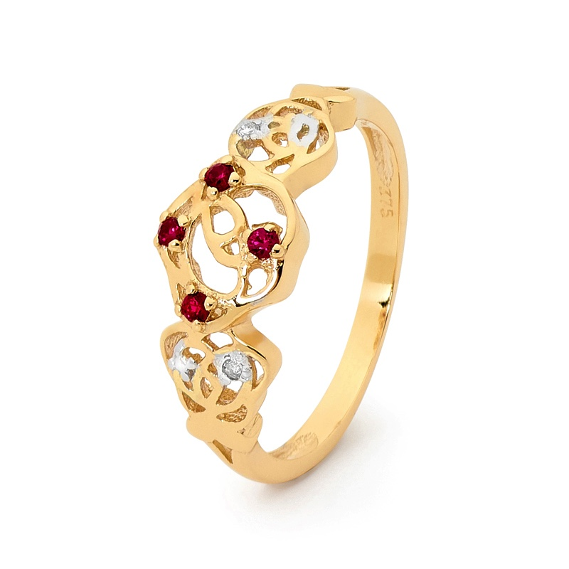 Created Ruby Rose Ring with Diamonds