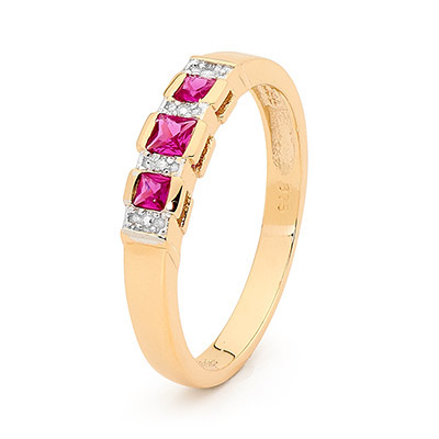 Three Stone Ruby Dress Ring