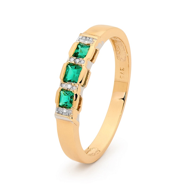 Created Emerald Dress Ring with Diamonds