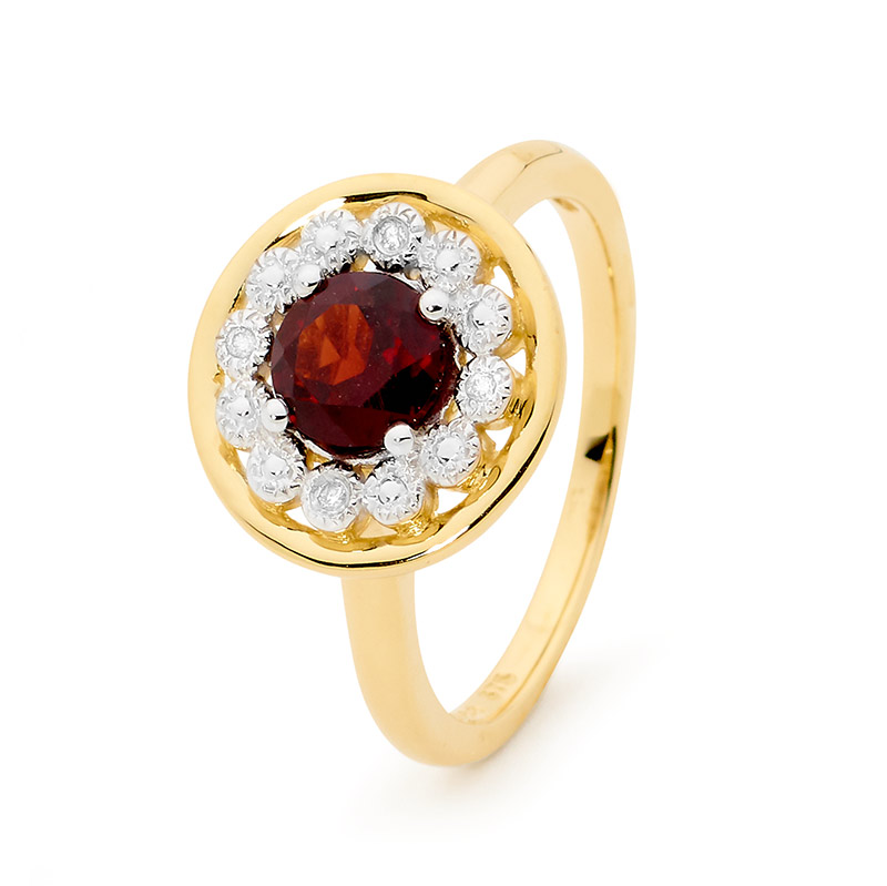 Garnet and Diamond Halo Ring