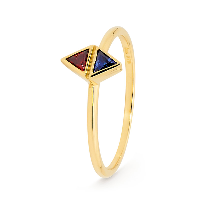 Double Triangle Stacker Ring - Brown Paper