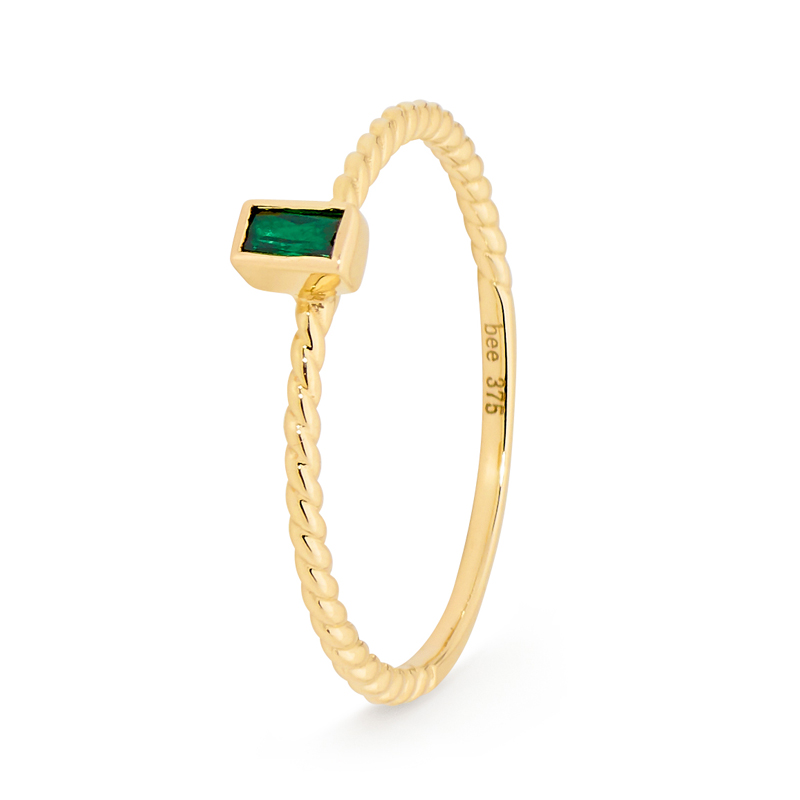 Stacker Ring with Green Baguette - Micro Gems