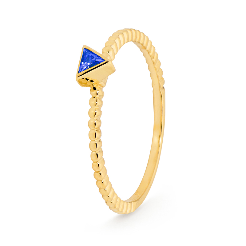 Radiant Blue Triangle CZ Ring - Brown Paper