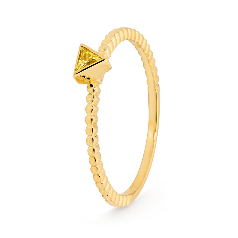 Ring with Yellow Triangle Gem - Micro Gems