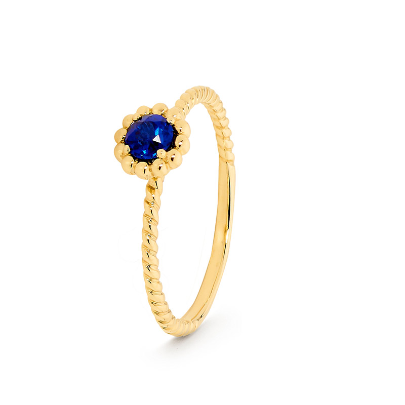 Tanzanite Blue Cubic Zirconia Ring - Brown Paper