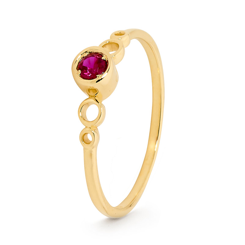 Ring with Red Cubic Zirconia - Micro Gems