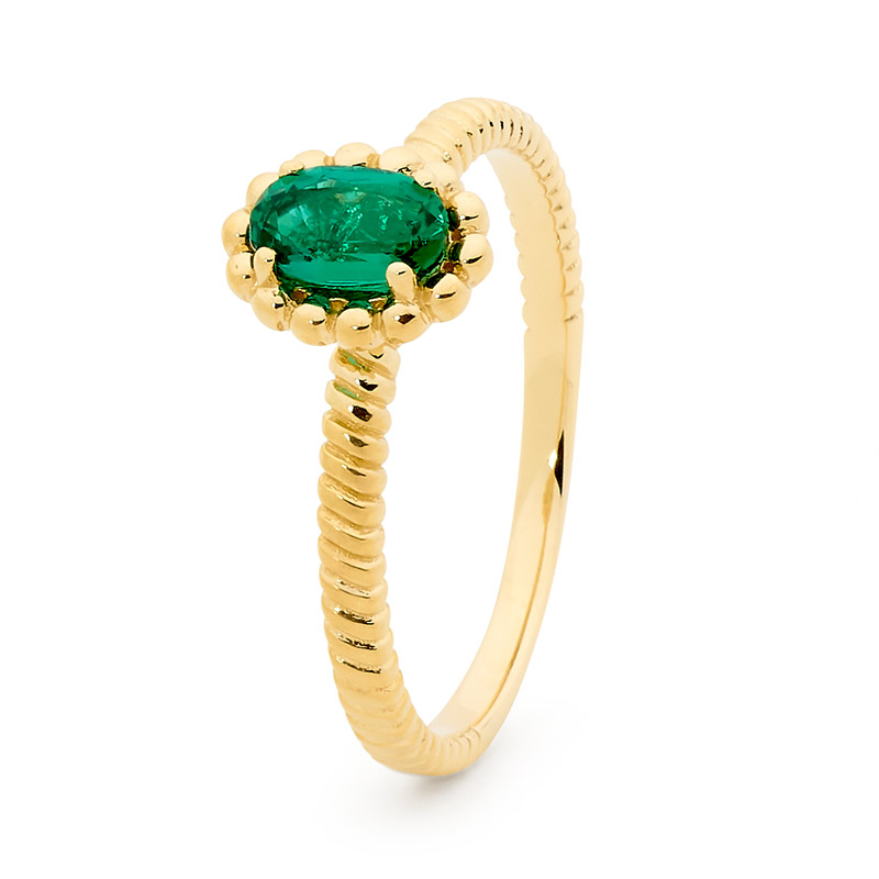 Emerald Ring with Oval Gemstone