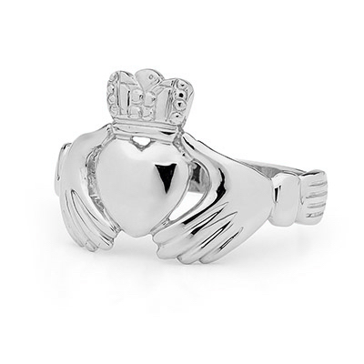 Sterling silver men's Irish Claddagh ring