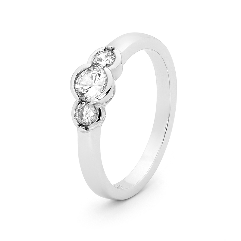 Sterling Silver ring with 3 Cubic Zirconia