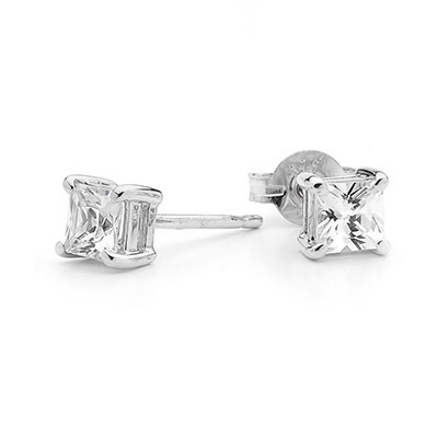 Princess Cut CZ Ear Studs 5 mm