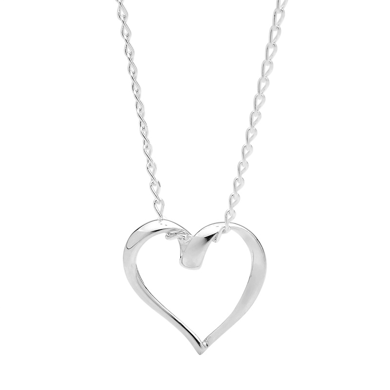 Open Silver Heart Pendant on Chain