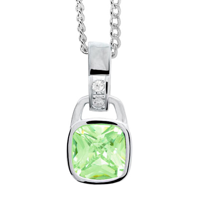 Silver pendant with apple green Cubic Zirconia