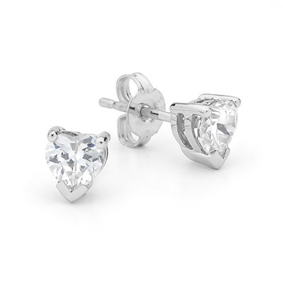 Heart Shaped Cubic Zirconia Earstuds