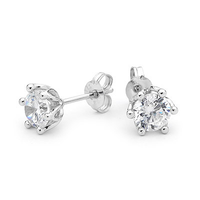 Cubic Zirconia Stud Earrings 6 mm