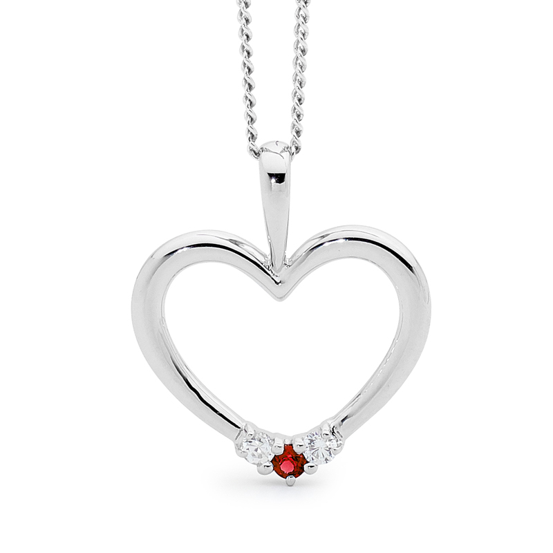 Romantic Silver Heart Pendant with Ruby