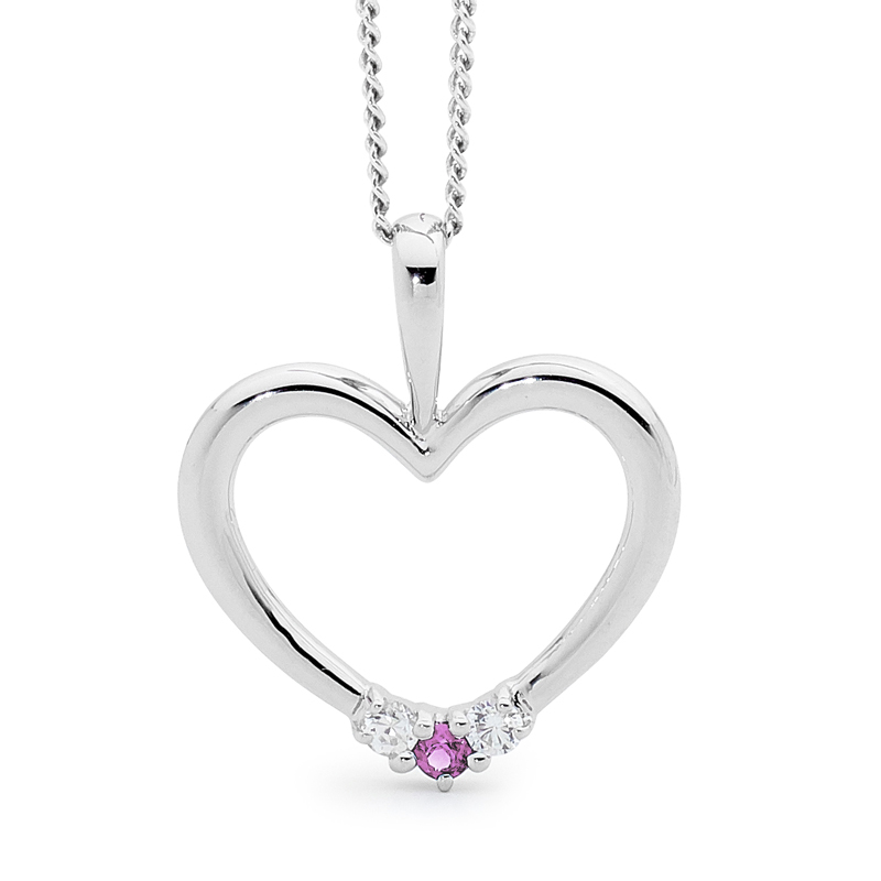 Romantic Silver Heart Pendant with PINK CZ