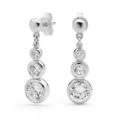 Three Stone Silver Drop erarrings with CZ