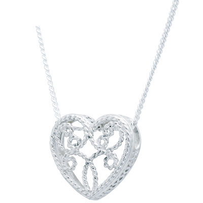 Romantic Sterling Silver Filigree Heart