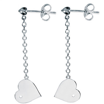 "Silver Heart and Arrow ""Amore"" Earrings"