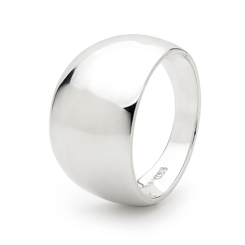 Shiny silver dome ring