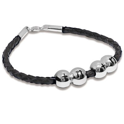 Fusion Bracelet Black Leather and Silver