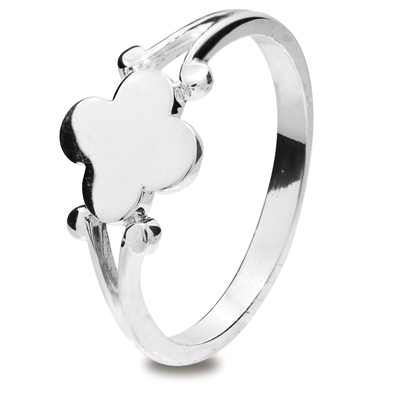 Girls Silver Clover Ring