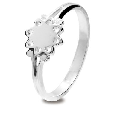 Girls Silver Flower Ring