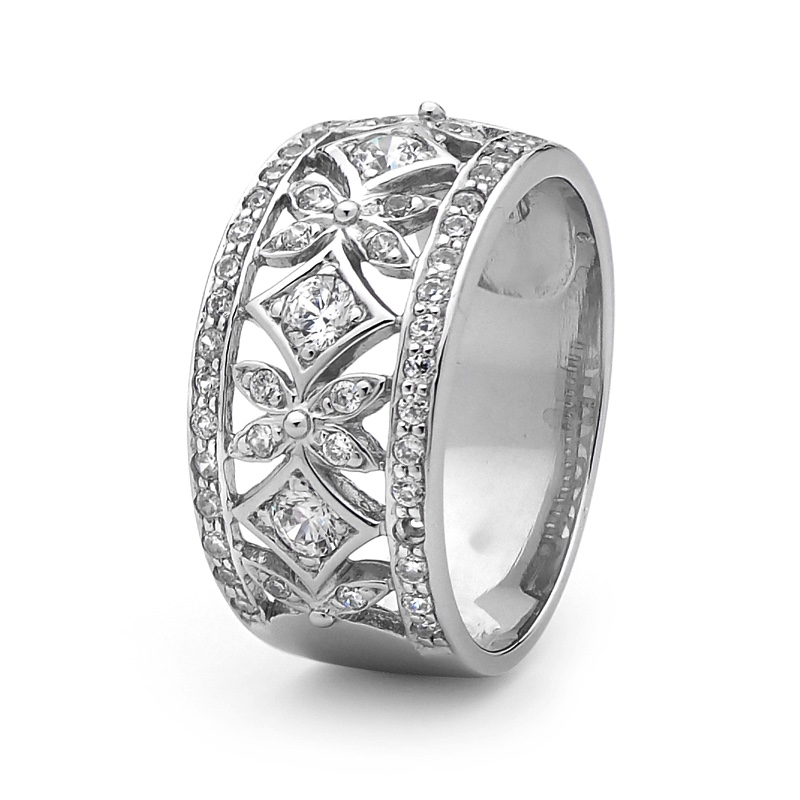 Silver Ring With Zirconia - Pave Set - 2503