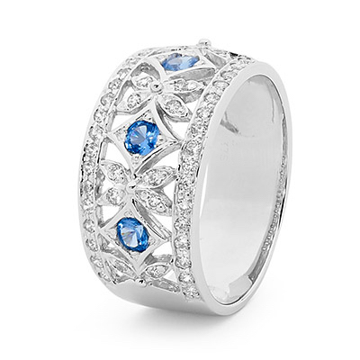 Silver Right Hand Ring with Blue CZ