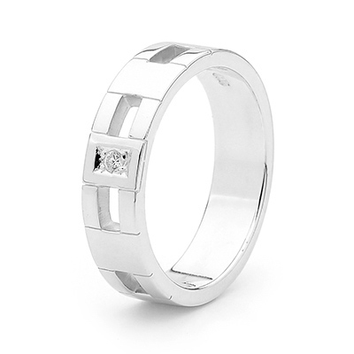 J03 - Sterling Silver Gent's Ring with Zirconia - Size U