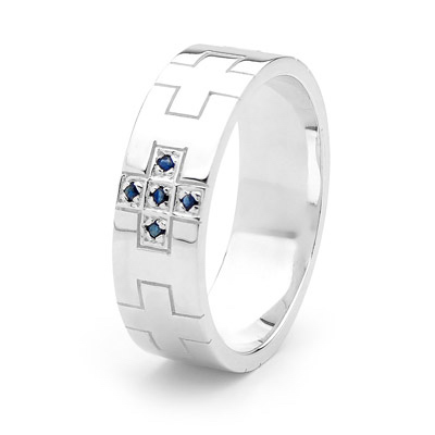 Sterling Silver Men's Dress Ring - Sapphire - Size T