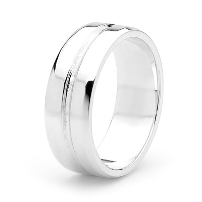 Sterling Silver Men's Ring - Groovy - SIZE T