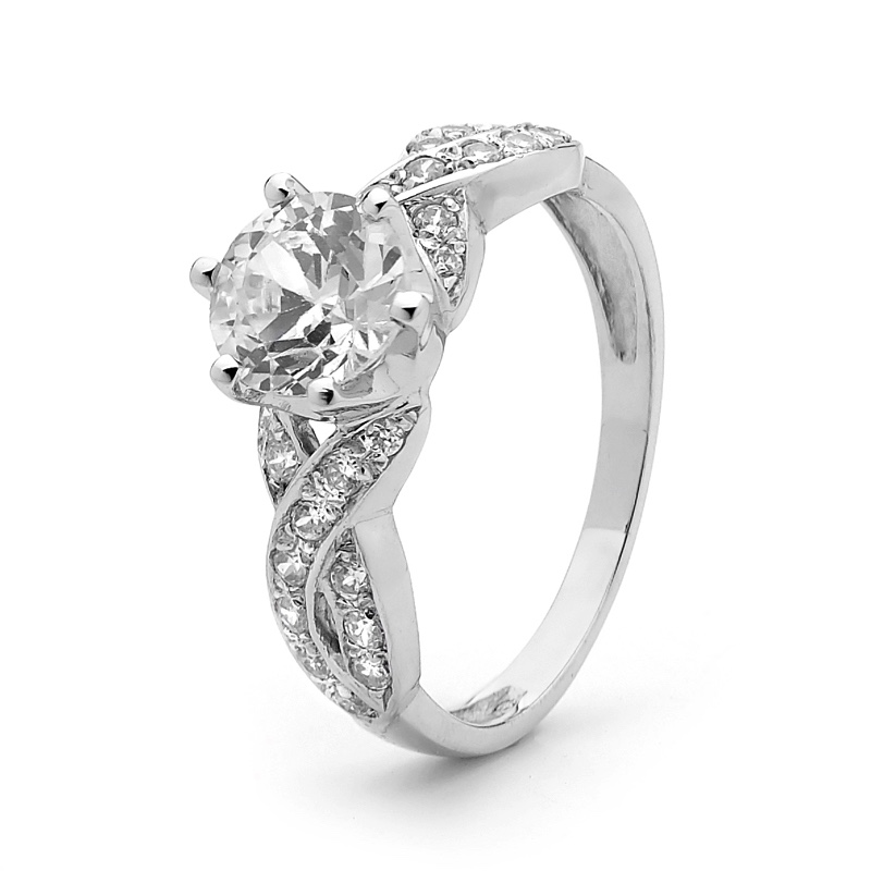 Cubic Zirconia Dress Ring - Silver