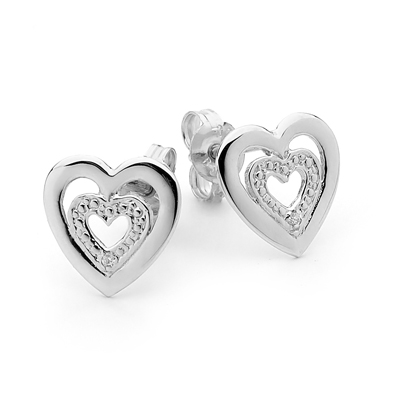 Silver Heart Earrings with CZ