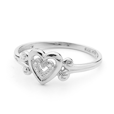 Silver Heart Love Ring with CZ
