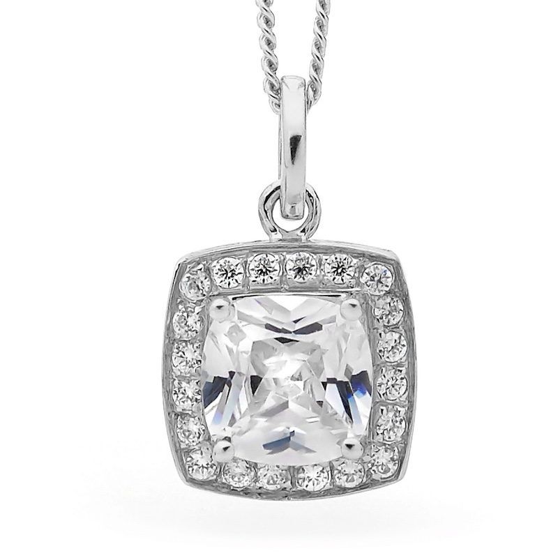 Cubic Zirconia Dress Pendant - Silver
