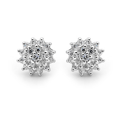 Silver Dress Earrings with Cubic Zirconia