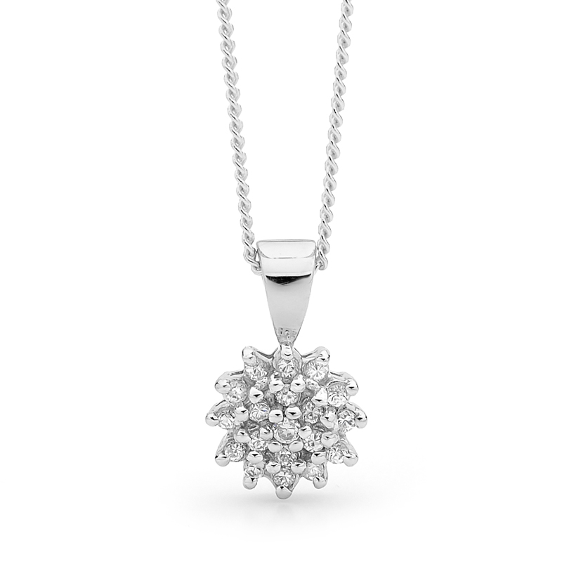 Silver Dress Pendant with Cubic Zirconia