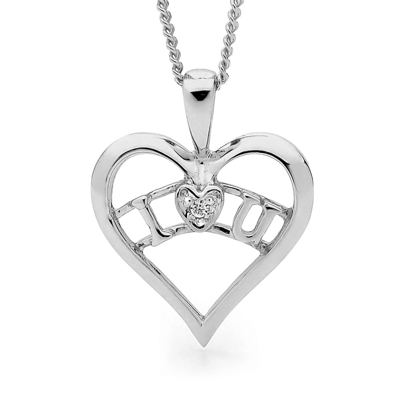 I Love You - Heart Pendant - Silver