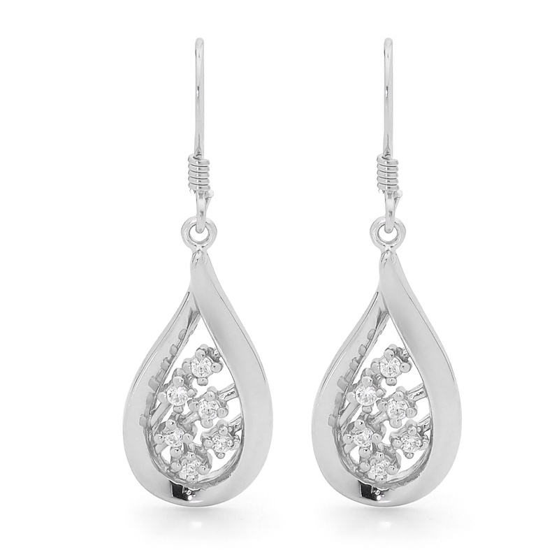 Sterling Silver Drop Earrings with CZ