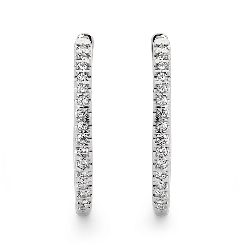 Inside Out Hoop Earrings with Cubic Zirconia