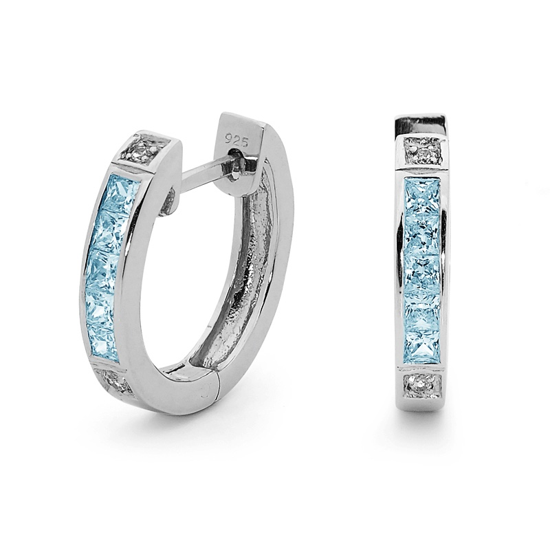 Sterling Silver Huggie Earrings - Blue Topaz