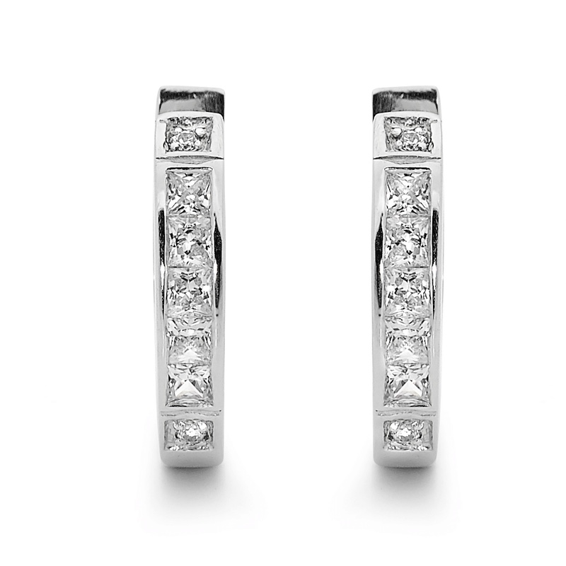 Glittering Silver Huggie Earrings