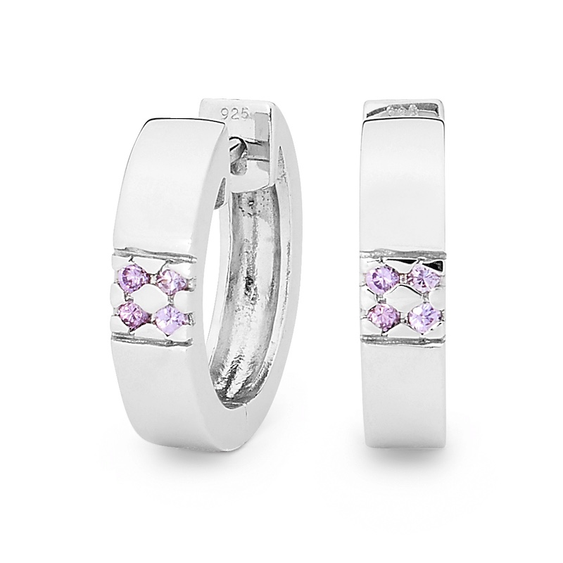 Silver Huggie Style Earrings with Amethyst coloured CZ